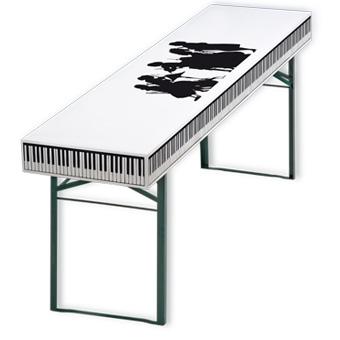 Papiertischdecke-patide, Design: Musik, wasserfest und formstabil, Biertisch, Festival, Veranstaltung, outdoor,