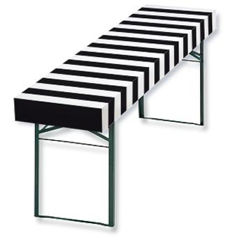 Papiertischdecke-patide. Design: Zebrastreifen, Husse für Biertisch, wasserfest
