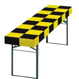 Papiertischdecke schwarz-gelb, für Biertisch, wasserfest, passgenau, patentiert, Event-Design, Raum-Konzepte, Veranstaltungen, Feier, Party, Garten