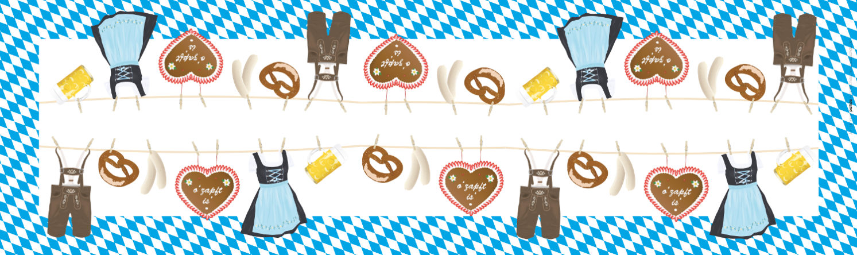 Papiertischdecke, Oktoberfest, bedruckt, wasserfest, Biertischmaß 220x50cm, Husse