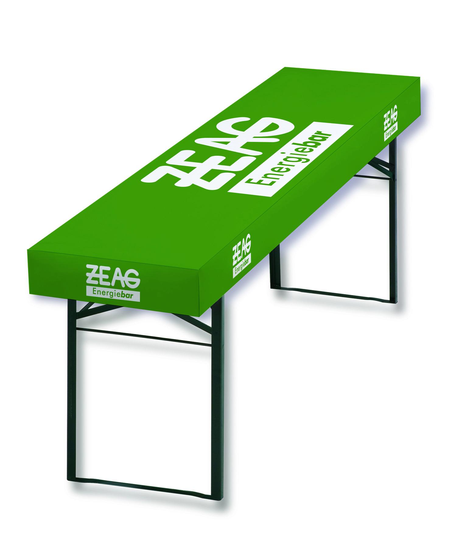 Papiertischdecke, patide, Biertisch, individuell bedrucken, ZEAG,, Logotischdecke, Messetischdecke, wasserfest, Event-Design, Kongress, outdoor, Tischdecke, sustainable, nachhaltig