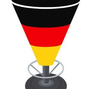 Papiertischdecke, rund, Bistro-Stehtisch, wasserfest, recyclebar, wieder verwendbar, bedruckbar, Deutschland, Fußball, Event, Fan-tischdecke
