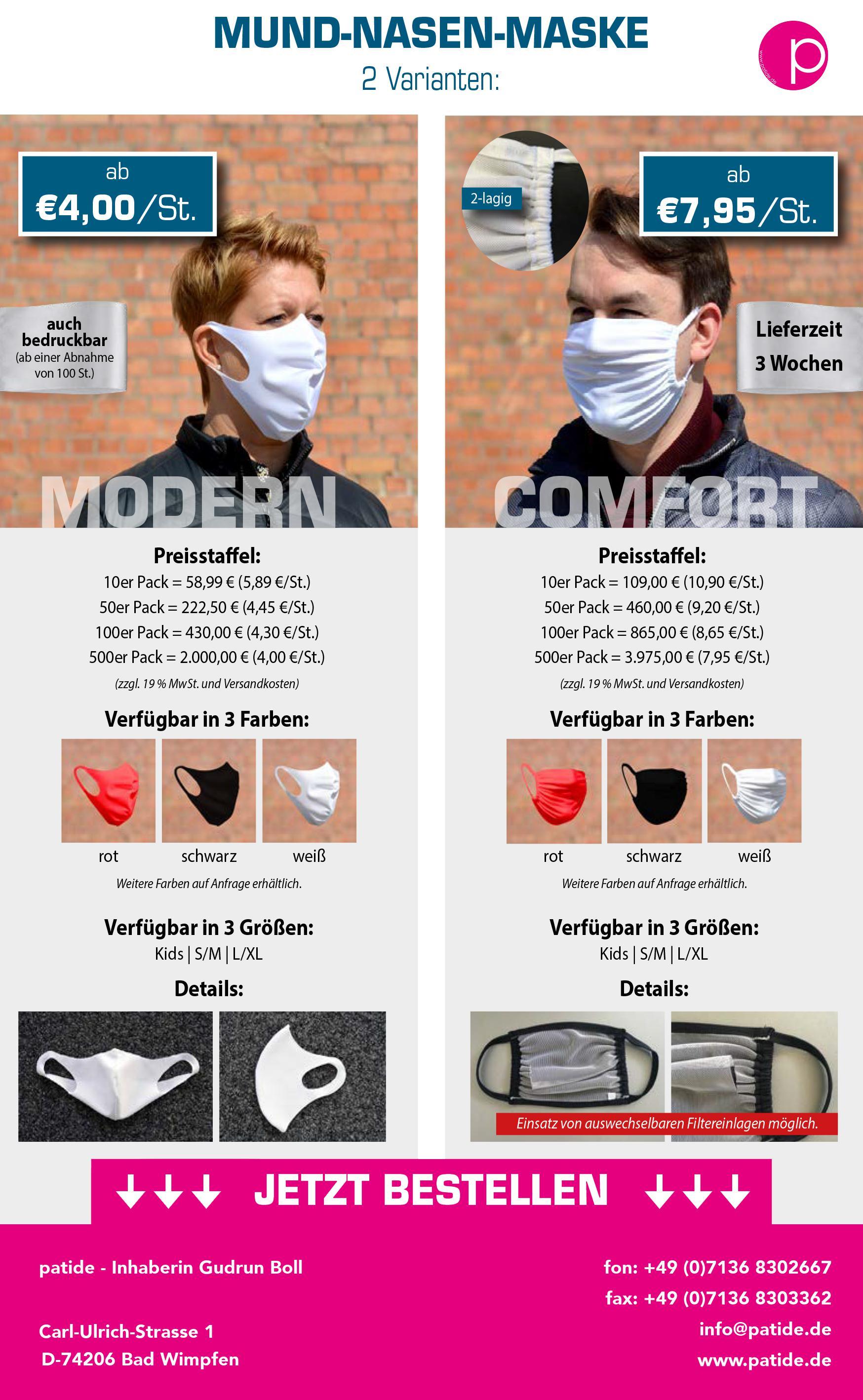 Mund-Nase-Maske, waschbar, wiederverwendbar, made in Germany